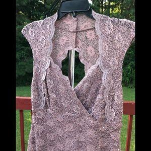 CONNECTED APPAREL WOMEN'S DRESS BROWN SEQUIN